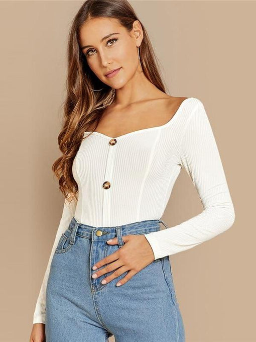 Ivanna White Button Ribbed Knit Top