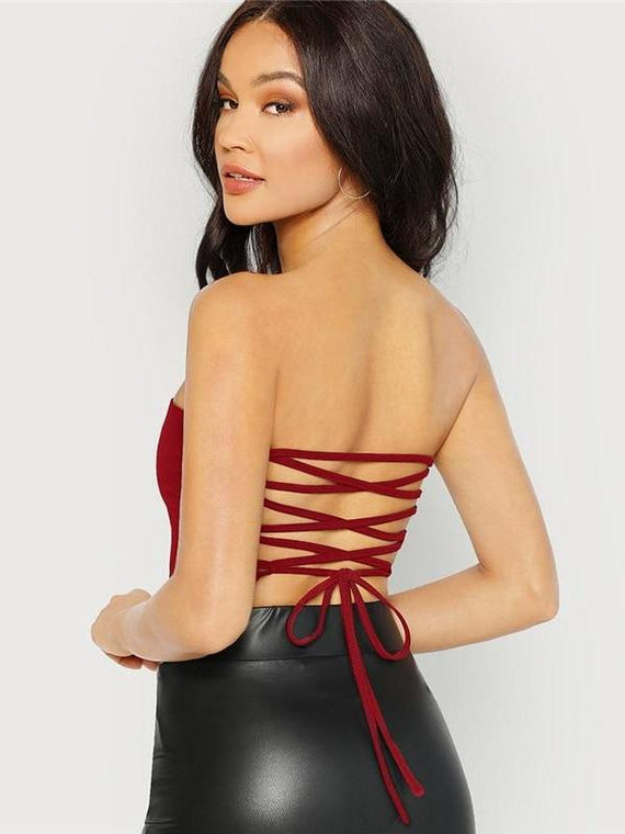Corinne Burgundy Backless Lace Up Vest Top