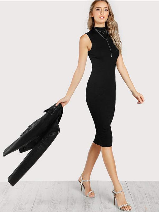 Lana Black High Neck Rib Knit Sleeveless Bodycon Dress
