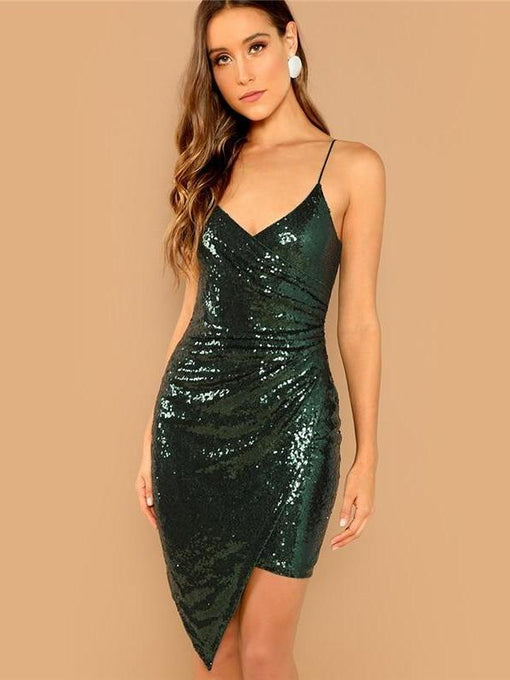 Mabel Green Sleeveless Sequin Dress