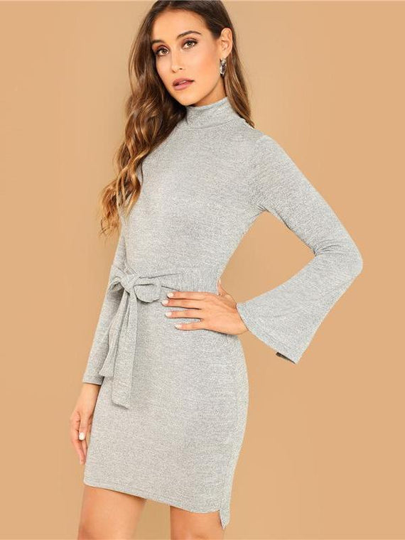 Bonnie Grey Knot Heathered Dress