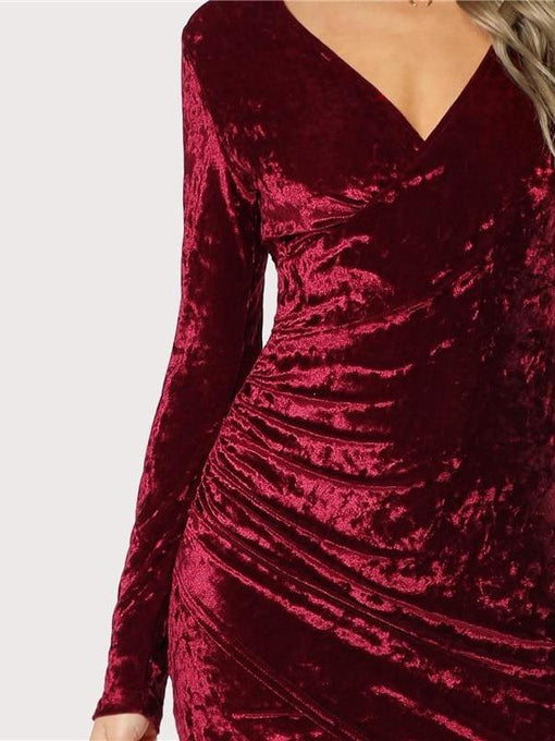 Matilda Burgundy Velvet Long Sleeve Pencil Dress