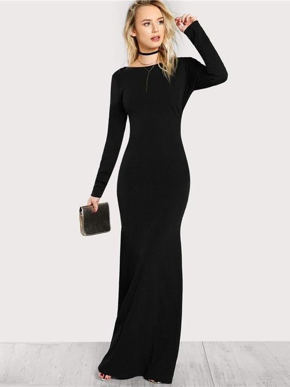 Colette Black Long Sleeve Open Back Bodycon Maxi Dress