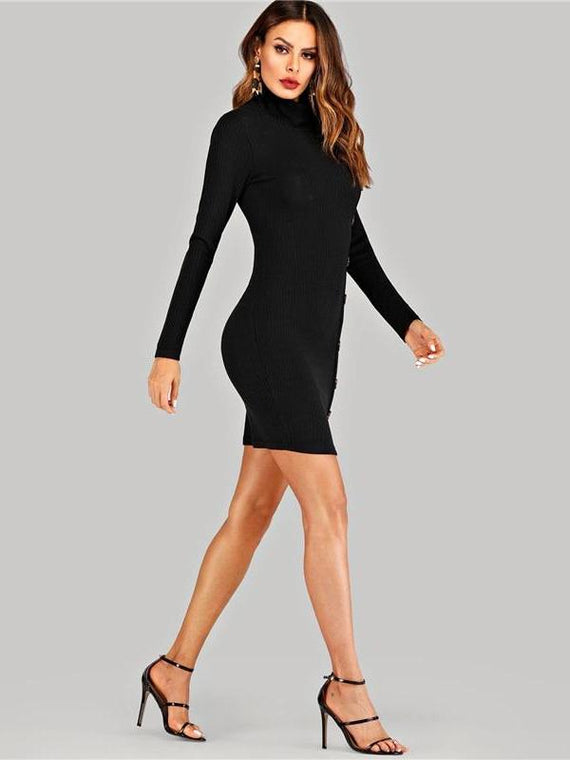 Harper Turtleneck Ribbed Knitted Black Dress