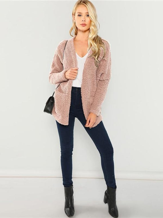 Esmeralda Pink Faux Fur Teddy Coat