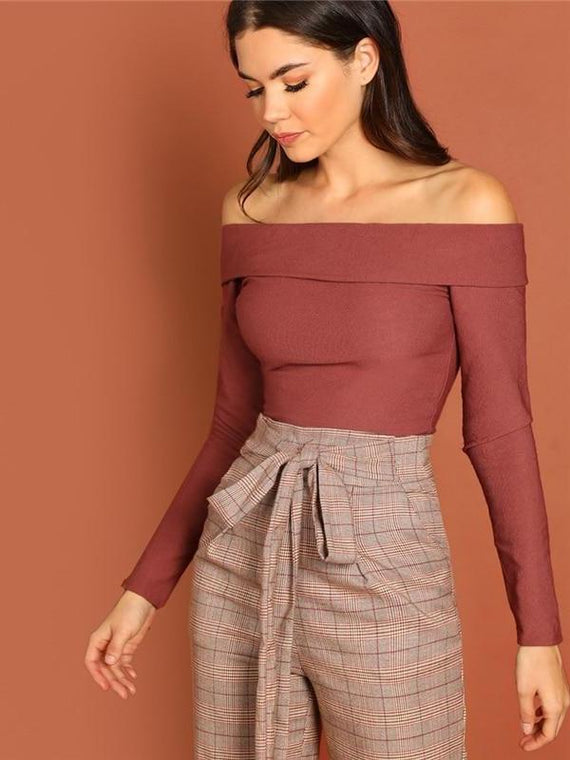 Callie Rust Foldover Front Off Shoulder Fitted Top