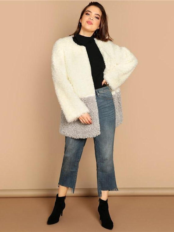 Ainsley Two-tone Solid Faux Fur Teddy Coat
