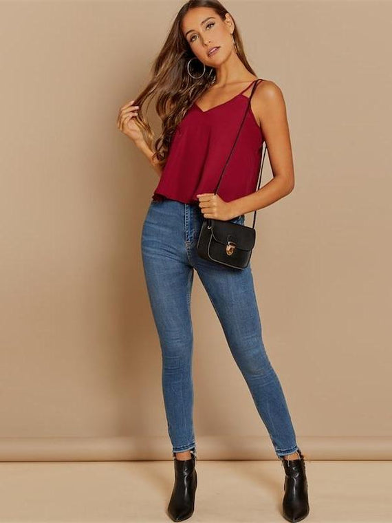 Estelle Burgundy Backless Cami Top