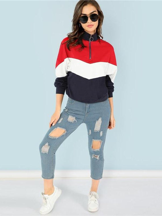 Tiana Red O-Ring Zip Pullover