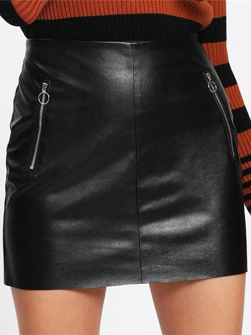 Alison O-Ring Zip Detail Faux Leather Skirt