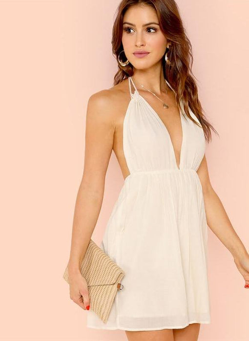 Nathalie White Backless Deep V Neck Halter Dress