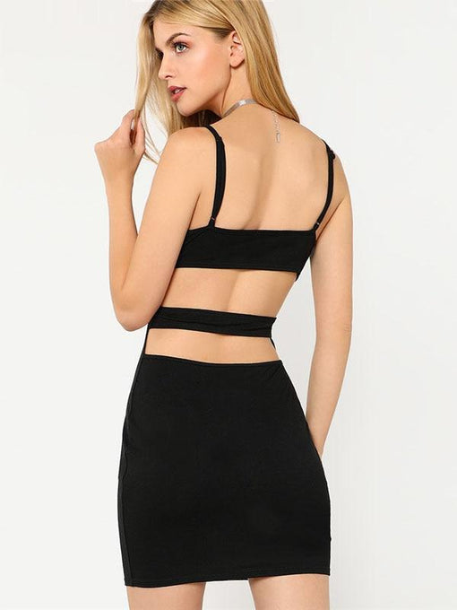 Kora Black Cutout Back Bodycon Dress