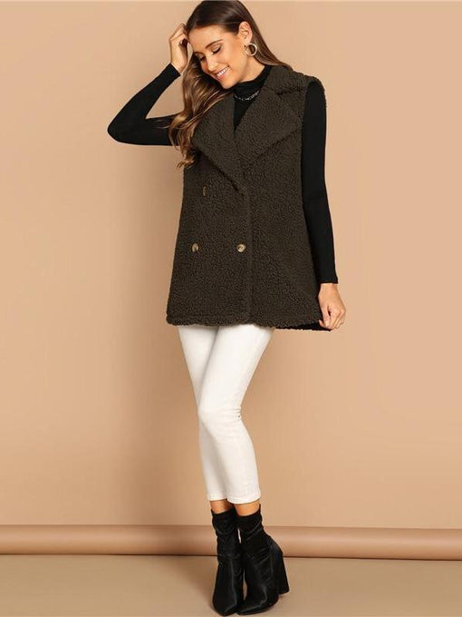 Carmen Army Green Notched Collar Vest Coat