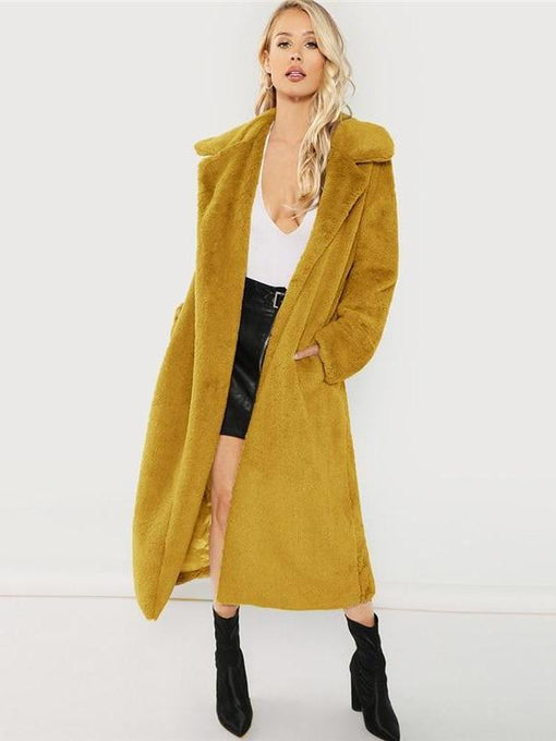 Catalina Yellow Long-line Fur Coat