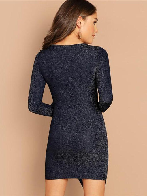 Reina Navy Ruffle Trim Ruched Glitter Bodycon Dress