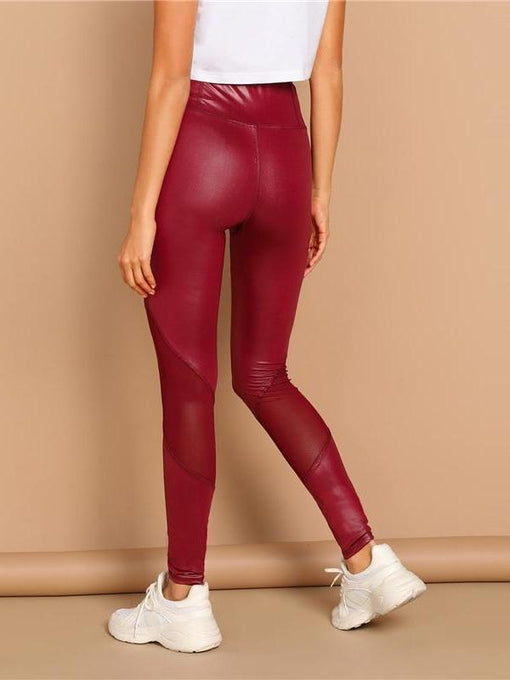Bria Burgundy Mesh Sheer Leggings