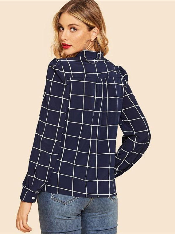 Phoebe Navy Tie Neck Grid Blouse