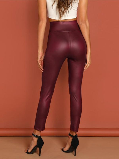 Harleigh Burgundy Exposed Zip Front Leggings