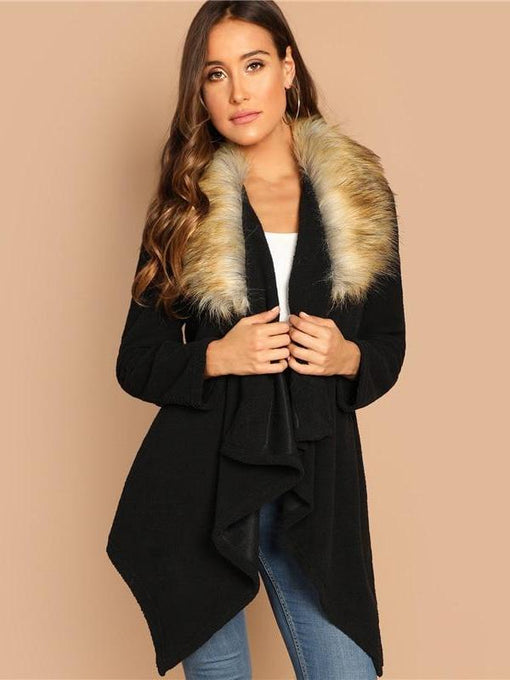 Everleigh Black Elegant Faux Fur Coat