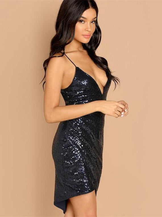 Elora Navy Wrap Sequin Bodycon Dress