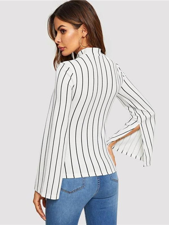 Evie White Mock Neck Bell Sleeve Striped Top