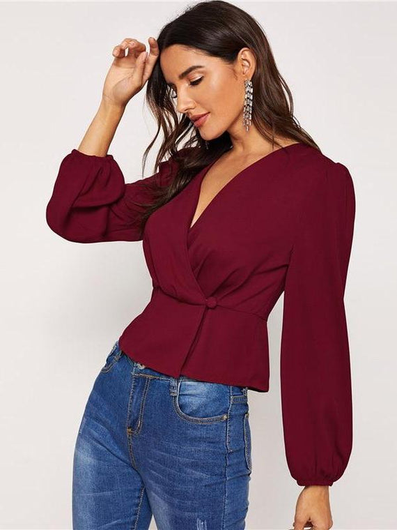 Miranda Burgundy Surplice Neck Blouse