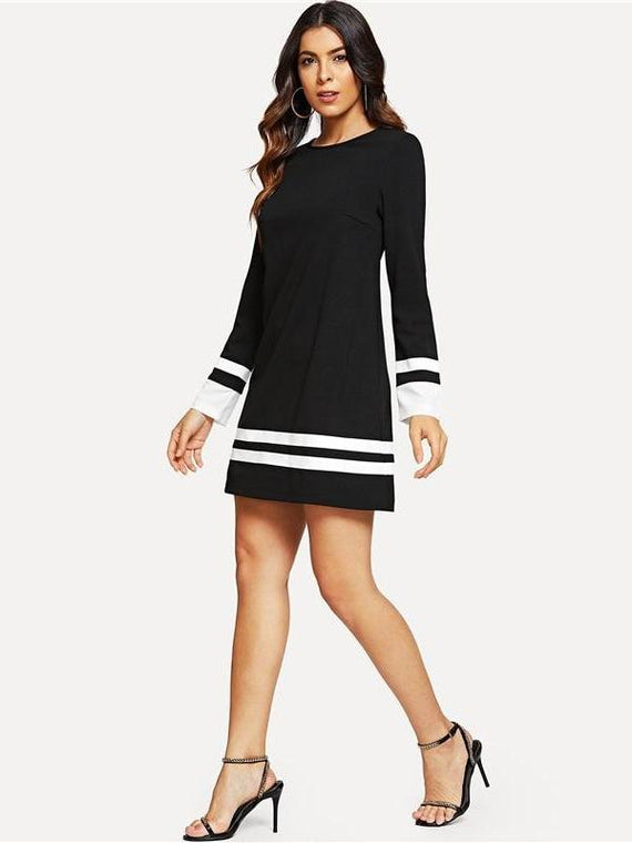 Daphne Black Round Neck Striped Dress