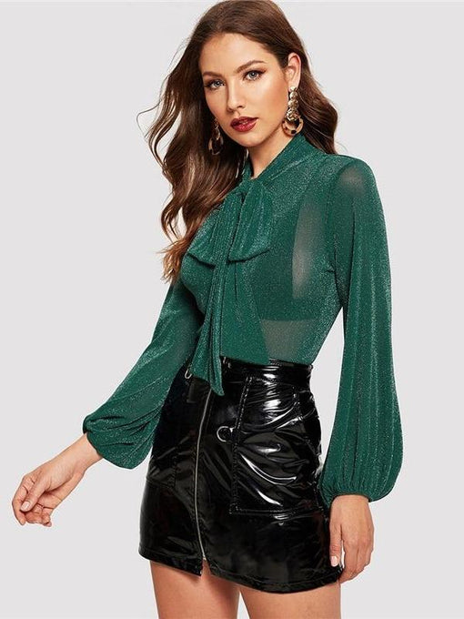 Cassidy Green Tie Neck Lantern Sleeve Glitter Top