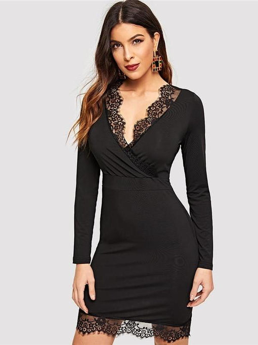 Marley Surplice V-Neck Lace Bodycon Dress