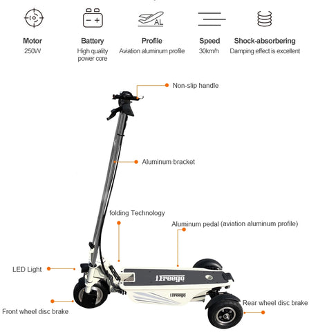 3 wheel compact electric scooter Hi Power