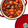 Chef Quality Cast Iron Dutch Oven - 5 QT Enamel Dutch Oven Pot (Red)