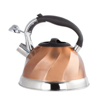Load image into Gallery viewer, Imperial Home Whistling Tea Kettle Stainless Steel Copper Tea Kettle. 3 Qt Encapsulated Bottom Stylish Modern Design Classic Tea Kettle