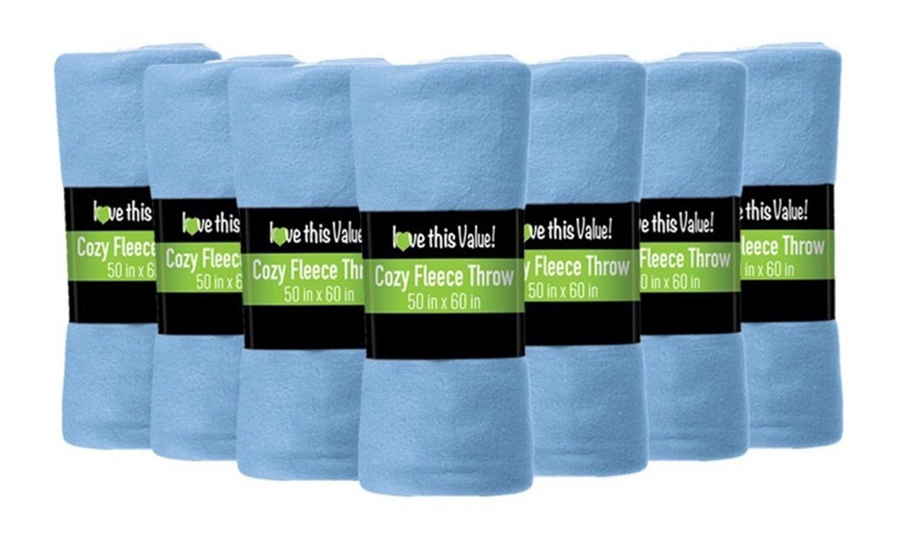 12 Pack of Imperial Home 50 x 60 Inch Ultra Soft Fleece Throw Blanket - Light Blue
