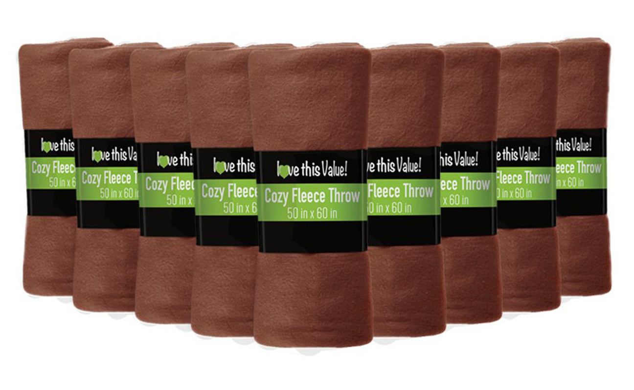 12 Pack of Imperial Home 50 x 60 Inch Ultra Soft Fleece Throw Blanket - Brown