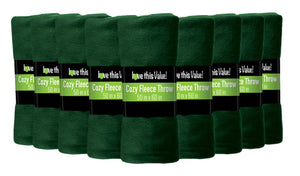 12 Pack of Imperial Home 50 x 60 Inch Ultra Soft Fleece Throw Blanket - Dark Green