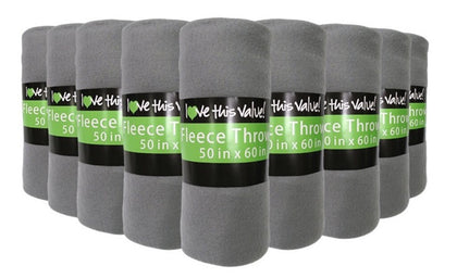24 Pack of Imperial 50 x 60 Inch Ultra Soft Fleece Throw Blanket - Gray