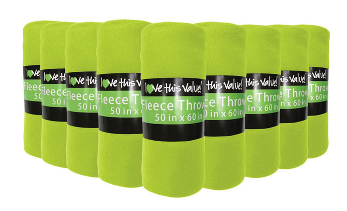24 Pack of Imperial 50 x 60 Inch Ultra Soft Fleece Throw Blanket - Lime Green