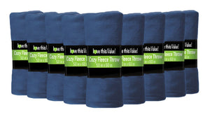 12 Pack of Imperial 50 x 60 Inch Ultra Soft Fleece Throw Blanket - Navy