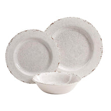 Load image into Gallery viewer, Gibson Studio 114334.12 Mauna 12 Piece Heavy Weight Melamine Dinnerware Set, Ice Rustic