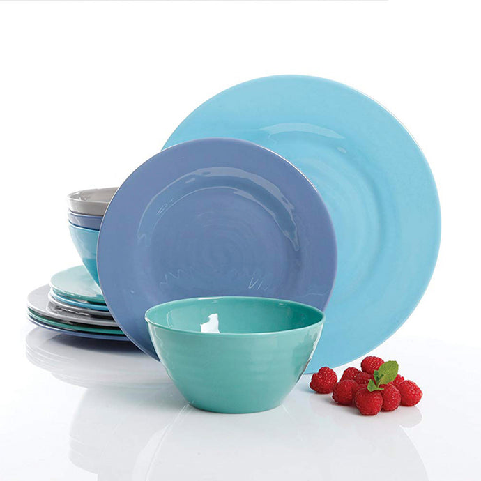 Gibson Overseas, Inc. 116936.12 085081401175 Melamine Dinnerware Set 12Pc, Blue
