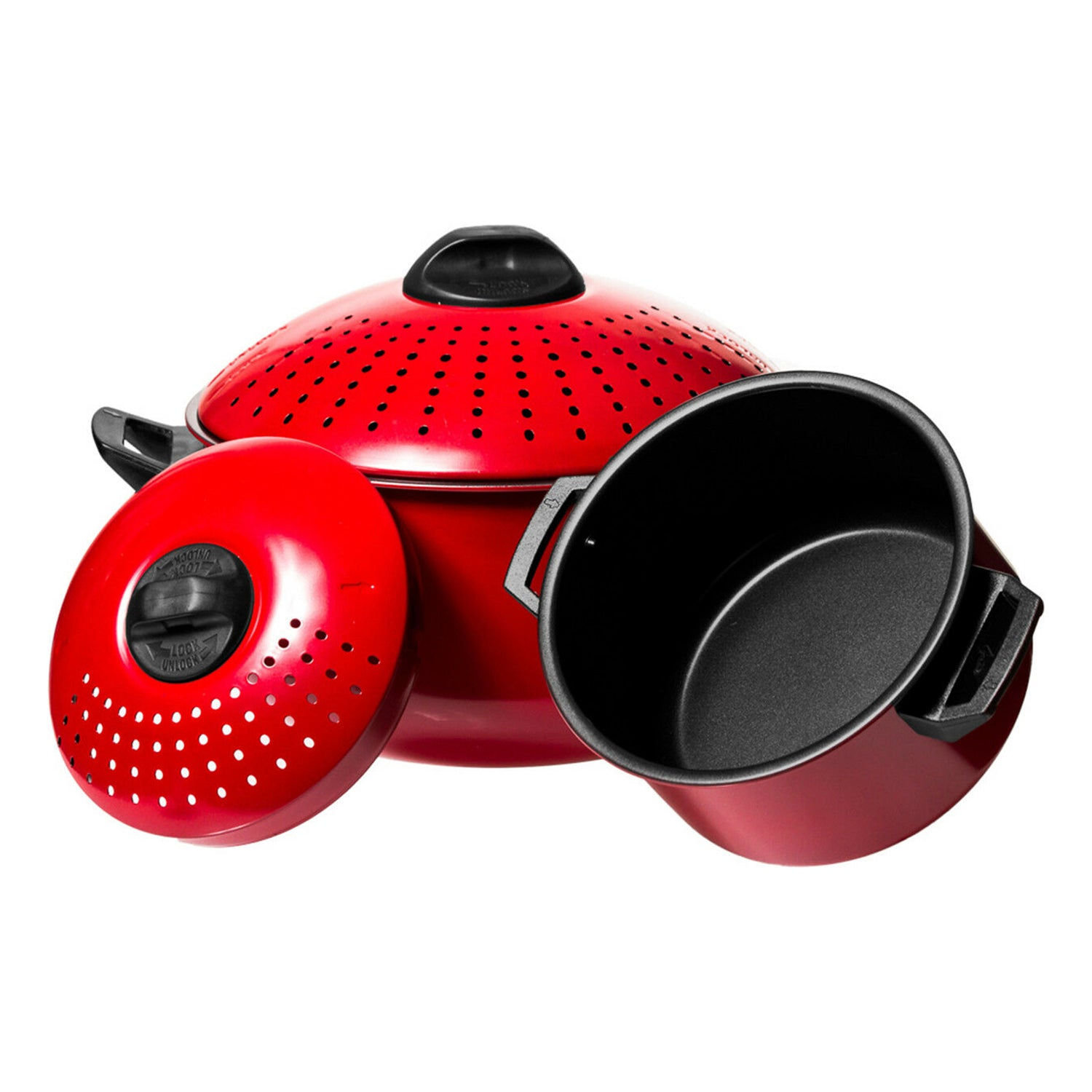 2 Pc Chef Quality Pasta Pot with Strainer Lid - 6 Qt & 2 Qt Red Stock Pot or Pasta Cooker
