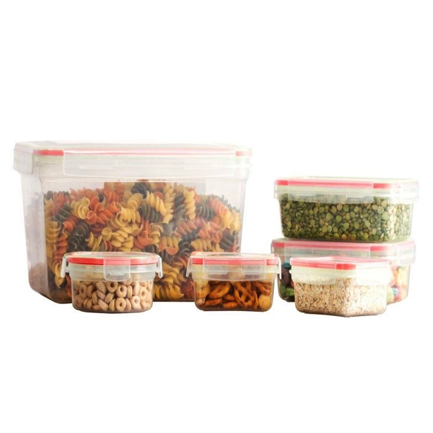 12 Pcs Plastic Mix Food Storage Containers Set With Air Tight Locking Lids