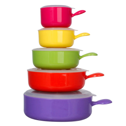 10 Pcs Microwave Safe Plastic Bowl Set W/ Lid - Colorful Food Storage Containers