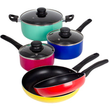 Load image into Gallery viewer, 8 Piece Rainbow Nonstick Cookware Set Kitchen Pots Sauce Fry Pan With Glass Lid