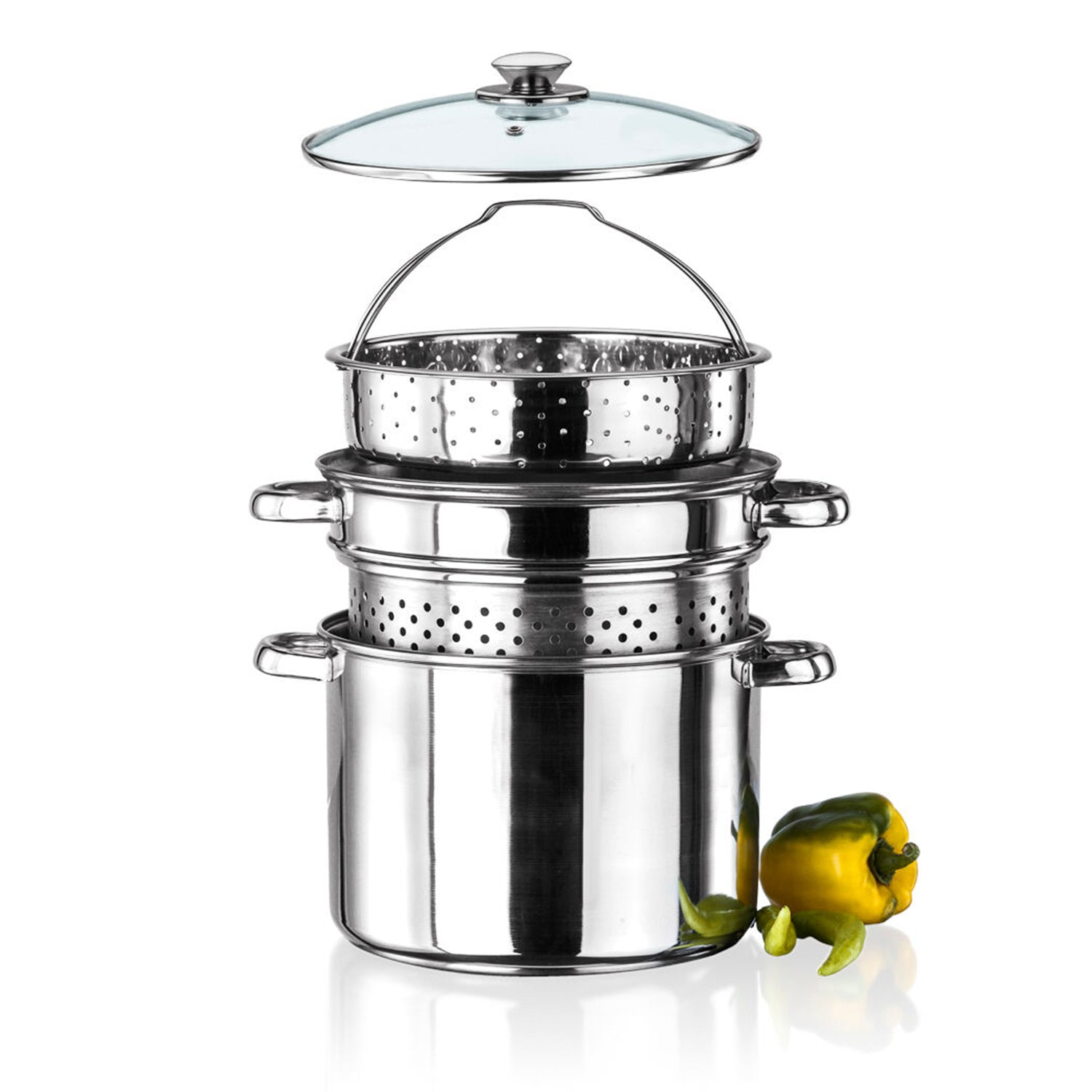 Stainless Steel 4 Pcs Pasta Cooker Set - 8 qt Stock Pot with Steamer Inserts