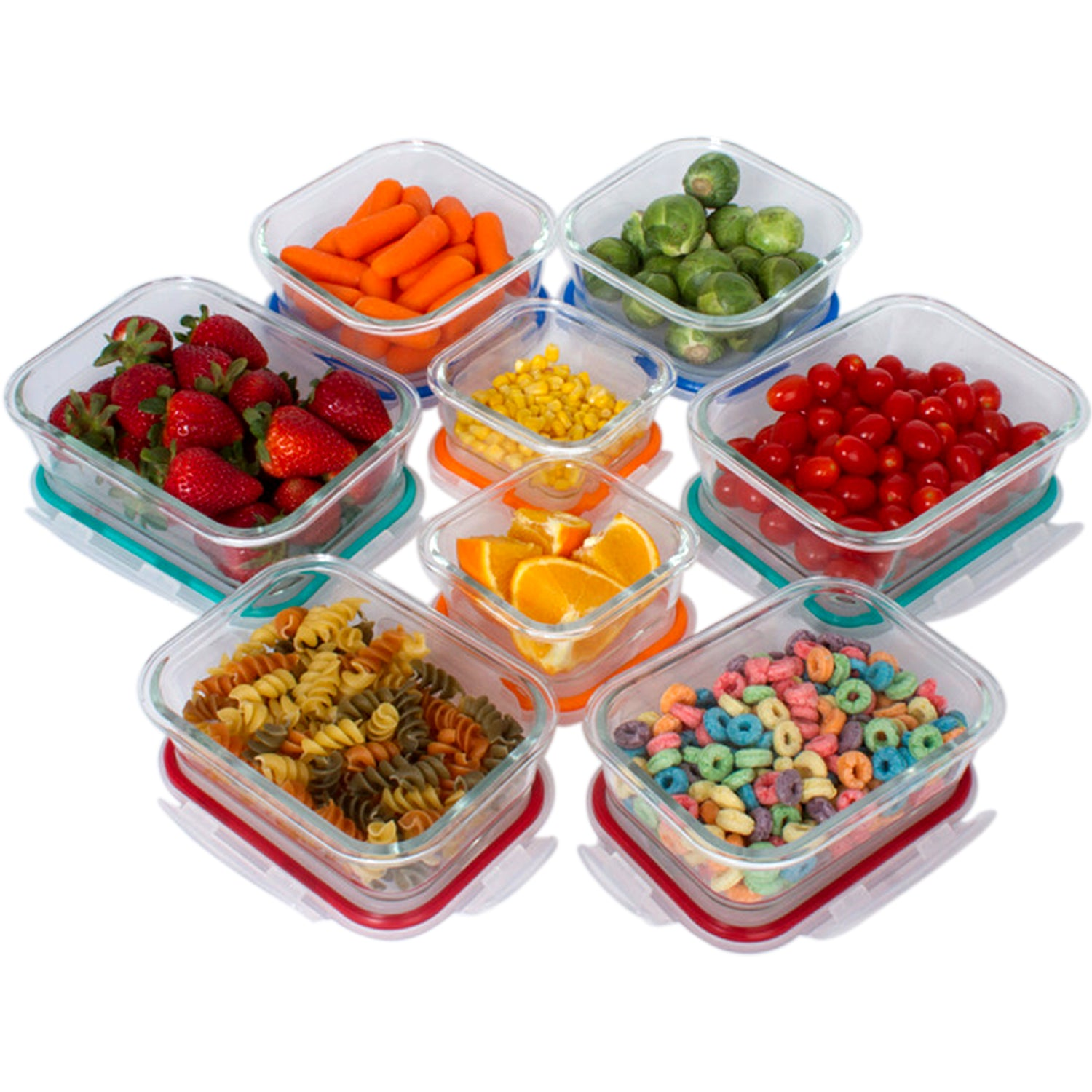 16 Pcs Set Glass Storage Containers with Lids/Glass Food Storage Containers Airtight/Glass Containers With Lids - Glass Meal Prep Containers Glass Food Containers - Glass Lunch Container