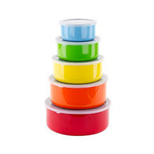 Load image into Gallery viewer, 10 Pcs Colorful Stainless Steel Mixing Bowls or Food Storage Containers Set w/Lids