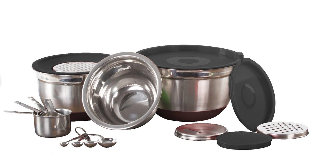 High Quality Stainless Steel 17 pcs Cooking / Mixing Bowls Preparation Set Black