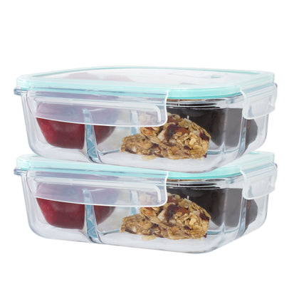 2 Pc Premium 3 Compartment Rectangle Glass Containers with Snap Locking Lids - 51 Oz