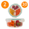 Round 3 Compartment Borosilicate Glass Food Storage Containers - 32 Oz - 2 Pack or 4 Pack